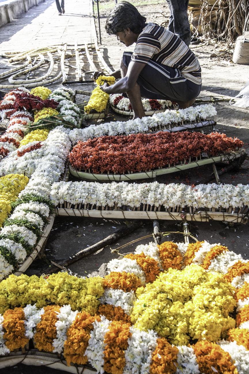 Préparation pour une décoration en fleur, qui défilera pour une des fêtes de village de la région de Chennai
